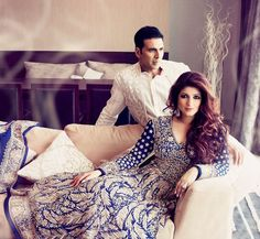 Akshay Kumar has an in house stylist as his wife Twinkle Khanna styles him for all the award functions and promotional events. Twinkle knows Akshay's style best, we say! Bollywood Couples, Bollywood Stars, Bollywood Celebrities, Bollywood Fashion, Indian Wedding Outfits, Indian Outfits, Celebrity Couples, Celebrity Weddings, Celebrity Photos