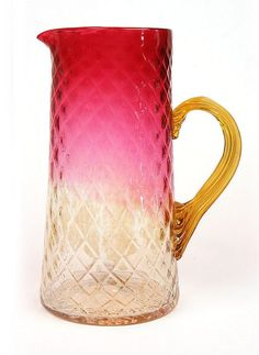 Amberina Water Pitcher - Pretty Ombre Colors with Quilted Design - Circa 1900.