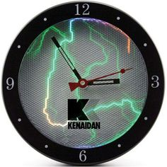 Sound-activated clock. Rainbow-colored electrical pulsations flash in sync with music or the sound of your own voice. The intensity of the effect mirrors the loudness of the sound. The plasma feature can also be set to run continuously or turned off to save power. The analog clock, with hour, minute, and sweep second hand, features a high quality quartz movement and your logo printed on the clock face cover. Gift boxed.