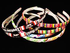 2 Plastic Candy Band Headbands - Decoupage - Dum Dums, Tootsie Roll, Dubble Bubble, Tottosie Pop...U Pick. $7.00, via Etsy.