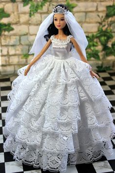 Handmade Barbie doll clothes Highgrade dress wedding by Blueberry3, $14.99