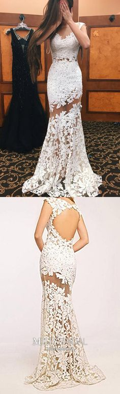 Long Prom Dresses For Teens,Ivory Prom Dresses Mermaid,Modest Prom Dresses Cap Sleeves,Lace Prom Dresses Open Back