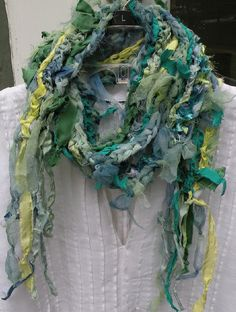 Crochet fiber art necklace scarf multicolor by LifesAnExpedition, $52.00