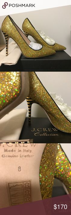 J Crew Collection Roxie Glitter Pumps J Crew Roxie Glitter Pumps with Dust Bag. Worn Once. Made in Italy. Size 8. These are GORGEOUS! From the J Crew Collection. J. Crew Shoes Heels