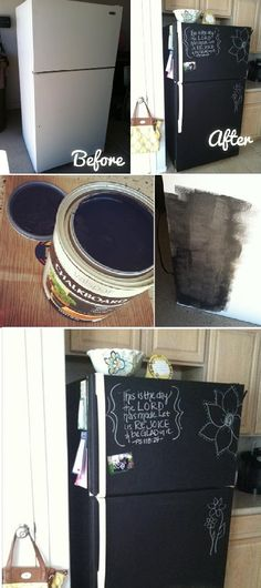"DIY Home Project: Paint Your Fridge Using Chalkboard Paint... For our ""beer"" fridge in the garage...."
