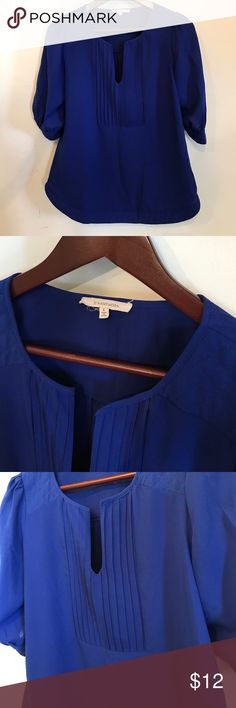 Hawthorne blouse Elbow length sleeves, pleated front, quilted detail on shoulders and back.  Electric blue in color.  Perfect piece for the office as we transition from summer to fall!  Size small. Tops Blouses