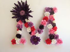 Custom name letter - Floral name letter - Pink letter M - Purple letter -M Wedding decor - Photography prop - Nursery wall letters - Decor by PreciousGiftsbyDiane on Etsy
