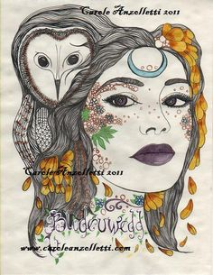 Blodeuwedd. Welsh goddess. By Carole Anzolletti on etsy. #owl