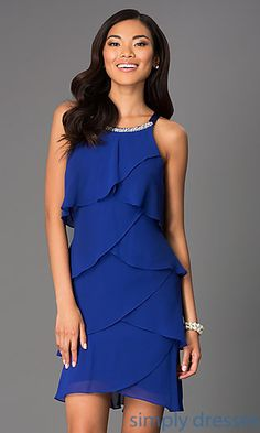 Short Sleeveless Tiered Dress at SimplyDresses.com