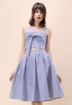 Sweet Breeze Top and Skirt Set in Blue Stripe