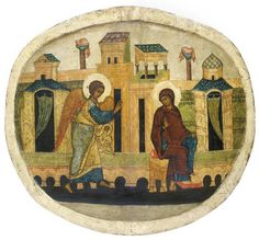 THE ANNUNCIATION - RUSSIAN, 16TH CENTURY - Of oval shape, Archangel Gabriel advancing from the left, bending forward & raising his right hand in benediction, the Mother of God seated on a backless throne, her body rendered in a serpentine manner as she turns back to look at the angel, the episode depicted against a dense architectural landscape, the saturated brown colour of the Mother of God's maphorion & the deep blues... 25¾ x 22¼ in. Archangel Gabriel, Russian Icons, Byzantine Icons, Russian Orthodox, Sacred Art, Oval Shape, 16th Century, Deep Blue, Ikon