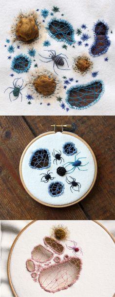 Colorful Spider Embroideries by Adam Pritchett Machine Embroidery Designs Embroidery Designs, Hand Embroidery Stitches, Crewel Embroidery, Cross Stitch Embroidery, Machine Embroidery, Jean Embroidery, Sweater Embroidery, Embroidery Digitizing, Embroidery Books