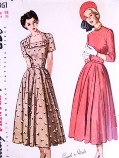 1940s SIMPLE TO MAKE Dress Pattern SIMPLICITY 2361 Full Circular Skirt Two Neckline Styles Day or Party Dress Bust 36 Vintage Sewing Pattern