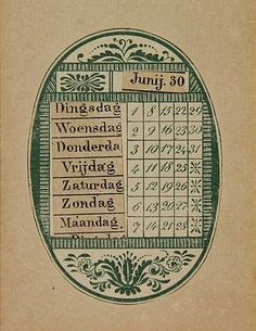 ¤ Perpetual calendar. Oval lithograph printed in green showing the date-numbers within decorative border, mounted on paper, with two movable paper strips w. letterpress days of the week/ months of the year slid through 2x2 incisions left of/ above the date numbers, the oval measuring 6,7x4,7 cm., manufactured prob. 2nd half 19th cent. = By moving the paper strips up or down, any desired correspondance month-date can be established. This way, the calendar can be used, indeed, perpetually.