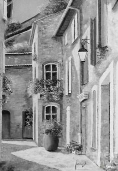 Coloring for adults - Kleuren voor volwassenen - Drawing Landscape Pencil Drawings, Pencil Art Drawings, Realistic Drawings, Drawing Sketches, Image Nature, Building Sketch, Still Life Drawing, Chiaroscuro, Art Graphique