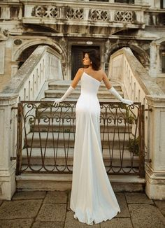 Satin wedding dress JINA with a small train and open shoulder - Metarnews Sites Dream Wedding Dresses, Boho Wedding Dress, Bridal Dresses, One Shoulder Wedding Dress, Prom Dresses, Satin Wedding Dresses, Shoulder Dress, Corset Dresses, Couture Wedding Gowns