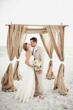 Burlap beach wedding arch