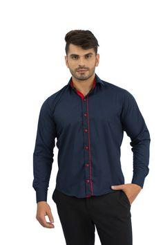 Camisa Social Masculina Azul Escuro e vermelho