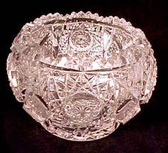 Brilliant Cut Glass Crystal Rose Globe Bowl Vase Hobstars