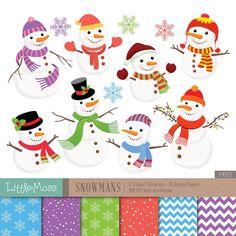 Christmas Snowman Digital Clipart by LittleMoss on Etsy Christmas Snowman, Christmas Themes, Christmas Tree Ornaments, Christmas Cards, Web Design, Design Blog, Snowman Clipart, Conception Web, Winter
