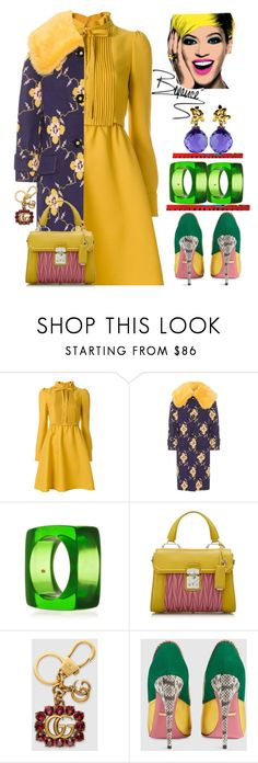 """""""Wearable pop art"""" by ellenfischerbeauty ❤ liked on Polyvore featuring Valentino, Miu Miu, Kenneth Jay Lane and Gucci"""