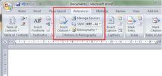 Automātisko atsauču izmantošana MS Word 2007