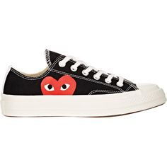 Comme des Garçons PLAY Women's Women's Chuck Taylor 1970s Low-Top... (170 CAD) ❤ liked on Polyvore featuring shoes, sneakers, black, black trainers, canvas lace up sneakers, black lace up sneakers, black shoes and comme des garcons shoes