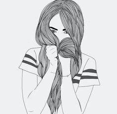black, drawing, girl, hair, outline, tumblr, white, transparents ...