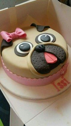 Pug cake More Pretty Cakes, Cute Cakes, Cake Cookies, Cupcake Cakes, 3d Cakes, Mini Cakes, Pug Cake, Animal Cakes, Novelty Cakes
