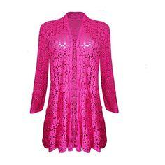 Womens Ladies Waterfall Lace Crochet Bolero Drape Long Cardigan Plus... ($8.10) ❤ liked on Polyvore featuring tops, cardigans, pink cardigan, plus size cardigans, long cardigan, lace top and crochet cardigan