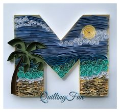 Shadow box quilled beach theme initial $50.00 #quilledpaperart #custominitial…
