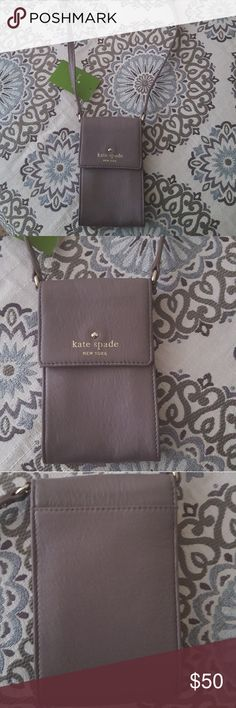 Kate Spade Cobble Hill Brandice Crossbody Purse ⚡Reasonable offers accepted.⚡  Brand new with tag. Never carried. Soft supple leather.  Color: French Grey Strap: 22in long Purse: 6in x 4in  •Cute carrying case with long strap.  •Holds keys, cellphone, cards. •3 Card slots inside with one pocket on the back side of the purse. Kate Spade Bags Crossbody Bags