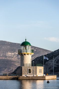Lighthouse with a green dome in the port town of Antikyra in Greece  #lighthouse #antikyra #greece #europe