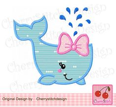 Girly whale appliqueWhale Digital Applique by CherryStitchDesign