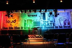 Andrew Cass from The Gate Student Ministry in Rochester MN brings us this great stage redesign. Youth Group Rooms, Youth Ministry, Ministry Ideas, Bethel Kids, Stage Background, Church Stage Design, Kids Church, Church Ideas, The Great Escape