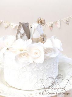 Custom Order Love Birds Wedding Cake Topper Café au Lait and Ivory Owl Cakes, Bird Cakes, Cupcake Cakes, Bird Cake Toppers, Wedding Cake Toppers, Wedding Cakes, Beautiful Cakes, Amazing Cakes, Love Birds Wedding