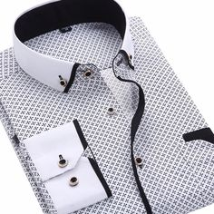 """Best Sale Shop - Buy Men's Fashion Casual Long Sleeved Printed shirt Slim Fit Male Business Dress Shirt Camisas Social Masculina Chemise Homme"""" from category """"Men's Clothing"""" for only USD. Formal Shirts For Men, Casual Shirts, Men Shirts, Shirt Men, Plaid Shirts, Cotton Shirts, White Shirts, Casual Mode, Men Casual"""