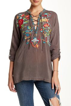 AMAZING-Johnny was-soldout-Long Sleeve Embroidered Tunic