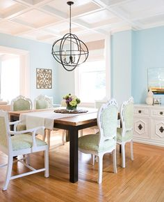 Beautiful blue dining room.