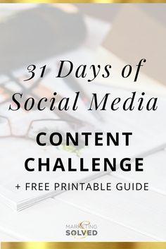 31 Days of Social Media Content + Content Calendar – Paid Social Media Jobs Marketing Online, Marketing Tools, Internet Marketing, Social Media Marketing, Marketing Strategies, Digital Marketing, Content Marketing, Marketing Ideas, Business Marketing