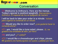 Conversación en inglés de restaurante comer fuera de casa  Curso de Ingles