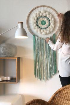 Art Textile, Decoration, Dream Catcher, Creations, Textiles, Home Decor, Circular Weaving, Merino Wool, Wall Art