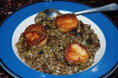 Wild mushroom risotto with seared sea scallops