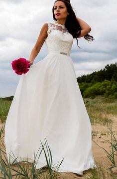 Shop affordable Chiffon Lace Satin Weddig Dress With Illusion at June Bridals! Over 8000 Chic wedding, bridesmaid, prom dresses & more are on hot sale. Strapless Lace Wedding Dress, Bohemian Wedding Dresses, Barbecue, Tulle Ball Gown, Bridal Gowns, Illusion, Lace Chiffon, Chiffon Dress, Lace Dress
