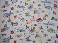 I was recently thrilled to find this fantastic novelty fabric, featuring important accomplishments of the Allies in WWII. Novelty Fabric, Wwii, 1940s, Vintage Fashion, Prints, World War Ii, Fashion Vintage, Preppy Fashion