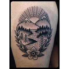 I want a mountain tattoo so bad, and I'm obsessed with the American traditional style!