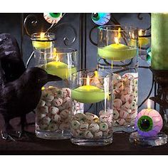 Display of spooky eyeballs and floating candles.