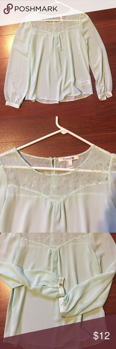 Mint Glitter Detailed Top Mint green. Sheer. Glitter detailing on neckline through shoulders to back and also on sleeve cuffs. Gold buttons on both sleeves. Worn once. Forever 21 Tops Blouses