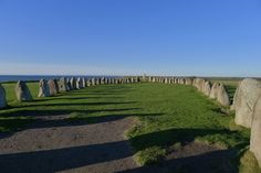 """Ales Stenar (""""Ale's Stones""""), also known as """"Sweden's Stonehenge.""""    Located near the fishing village of Kåseberga, the structure consists of 59 stones, each weighing up to 4,000 pounds, that appear to form a 220-foot-long ship overlooking the Baltic Sea."""