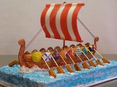 Viking Ship cake Happy 7th Birthday, Boy Birthday, Birthday Cakes, Birthday Ideas, Dragon Birthday, Dragon Party, Crazy Cakes, Fancy Cakes, Unique Cakes